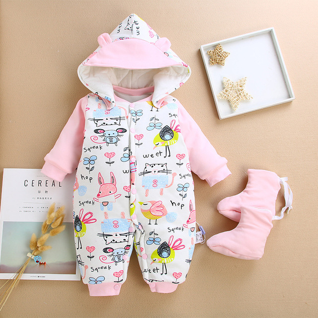 639846611790 winter Cartoon Hooded Baby Rompers Cotton Thick Newborn Baby Girl ...
