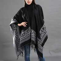 DSQUAENHD Women Vintage Ethnic Fringed Knit Cloak Geometric Poncho Bat sleeved Tassels Cape Cardigan Sweater Shawl 2019 New