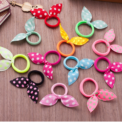New 10pcs 45mm Super Cute Rabbit Ears Hair Holders Hair Accessories Child Girl Women Print Point Rubber Bands(Random Color)
