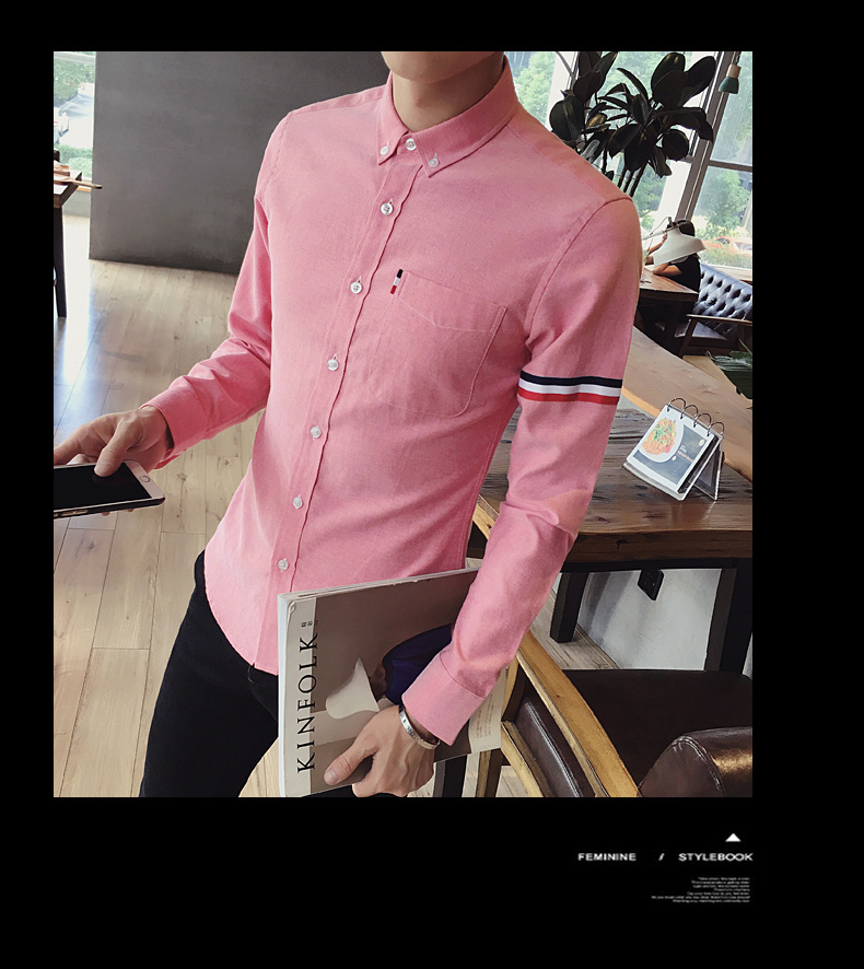 2017 New autumn men's casual tops brand shirt striped Strip decorate cotton men fashion solid color long sleeved Shirts M-XXXL 80