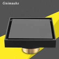 10cm black deodorization brass floor drain 100x100mm square anti odor bathroom balcony invisible Silver Gold shower drain