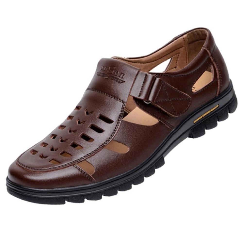 Para Hombre Cuero Genuino Nuevas 2019 Sandalias Zapatos De Verano Gladiador eYW29IbEHD