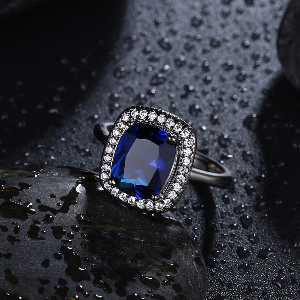 Fine Jewelry 925 Sterling Silver Classic Square Large Blue Zircon Diamond Close Rings for Women Gorgeous trendy Geometric style in Rings from Jewelry Accessories