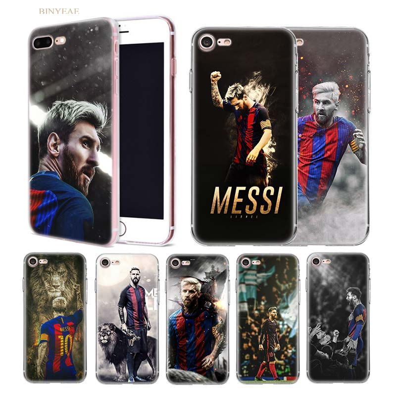 BINYEAE Lionel Messi Soccer player Transparent soft shell TPU case cover for iphone 5 5SE 5C 6 6S 7 7S 8 Plus X 10