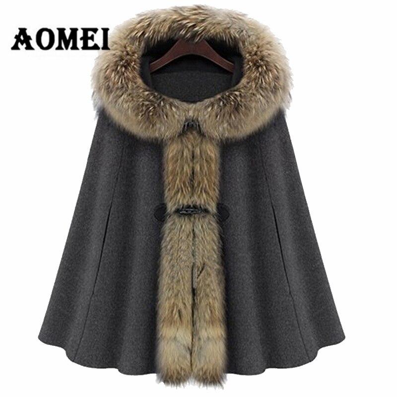Зимний женский плащ с капюшоном, кашемировая шерсть, воротник из искусственного меха, пончо, Осеннее шерстяное пальто, женская верхняя одежда, манто, одежда - Цвет: Серый