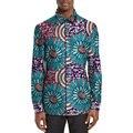 Traditional African Shirt Men Fashion Print Turn-down Collar African Tops Long Sleeve Dashiki Clothes C