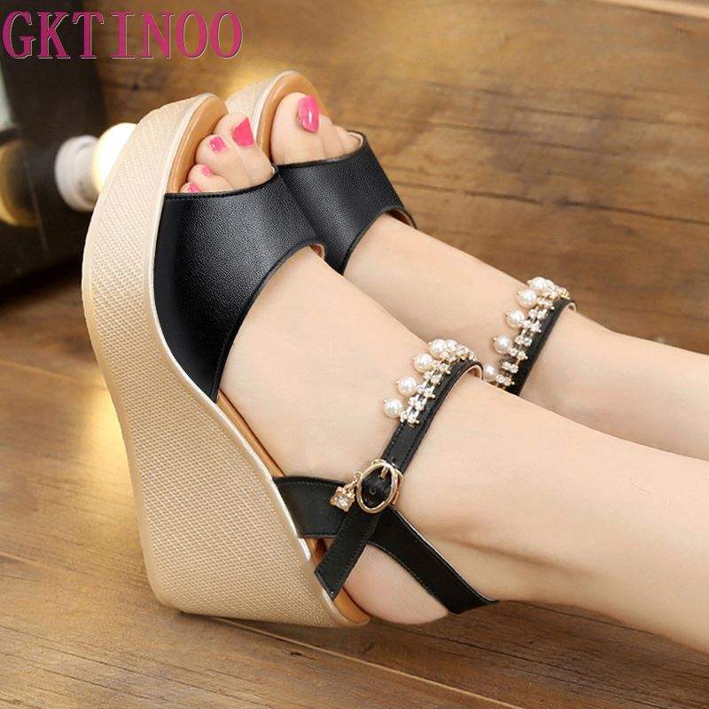 Fashion New Comfortable Summer Wedges Women Sandals For Ladies Shoes Platform Open Toe Beading Sandal Plus SizeFashion New Comfortable Summer Wedges Women Sandals For Ladies Shoes Platform Open Toe Beading Sandal Plus Size