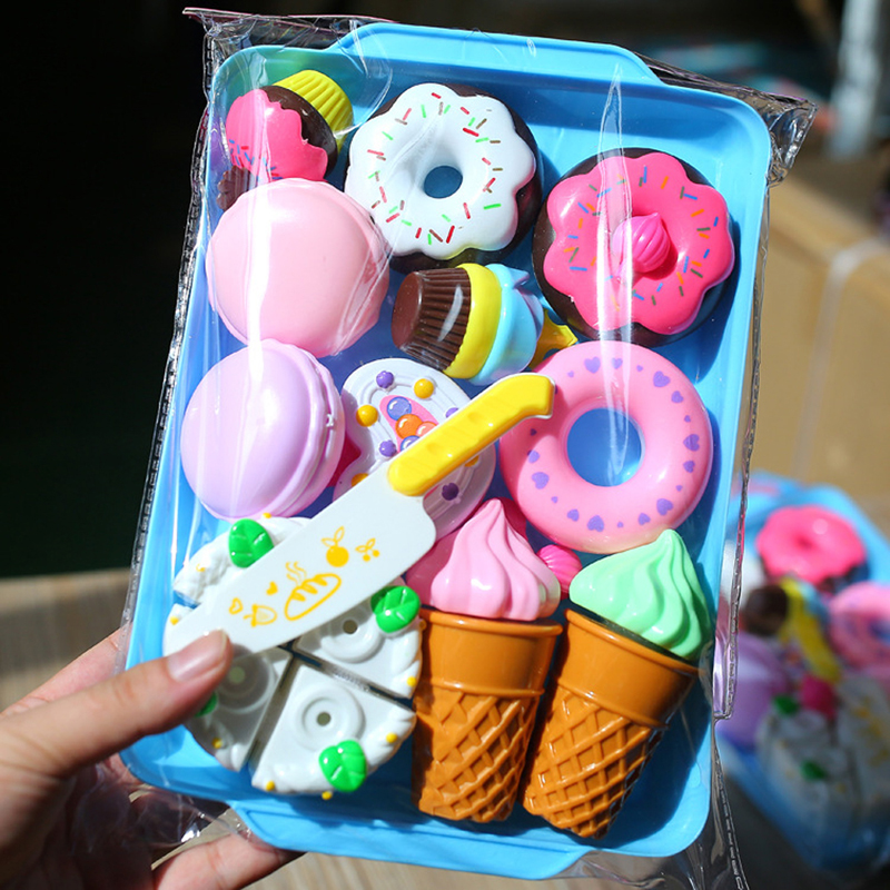 DIY Cake Toys Kitchen Food Pretend Play Cutting Dessert Birthday Toys Cocina De Juguete Pink Blue For Kid Educational Gift