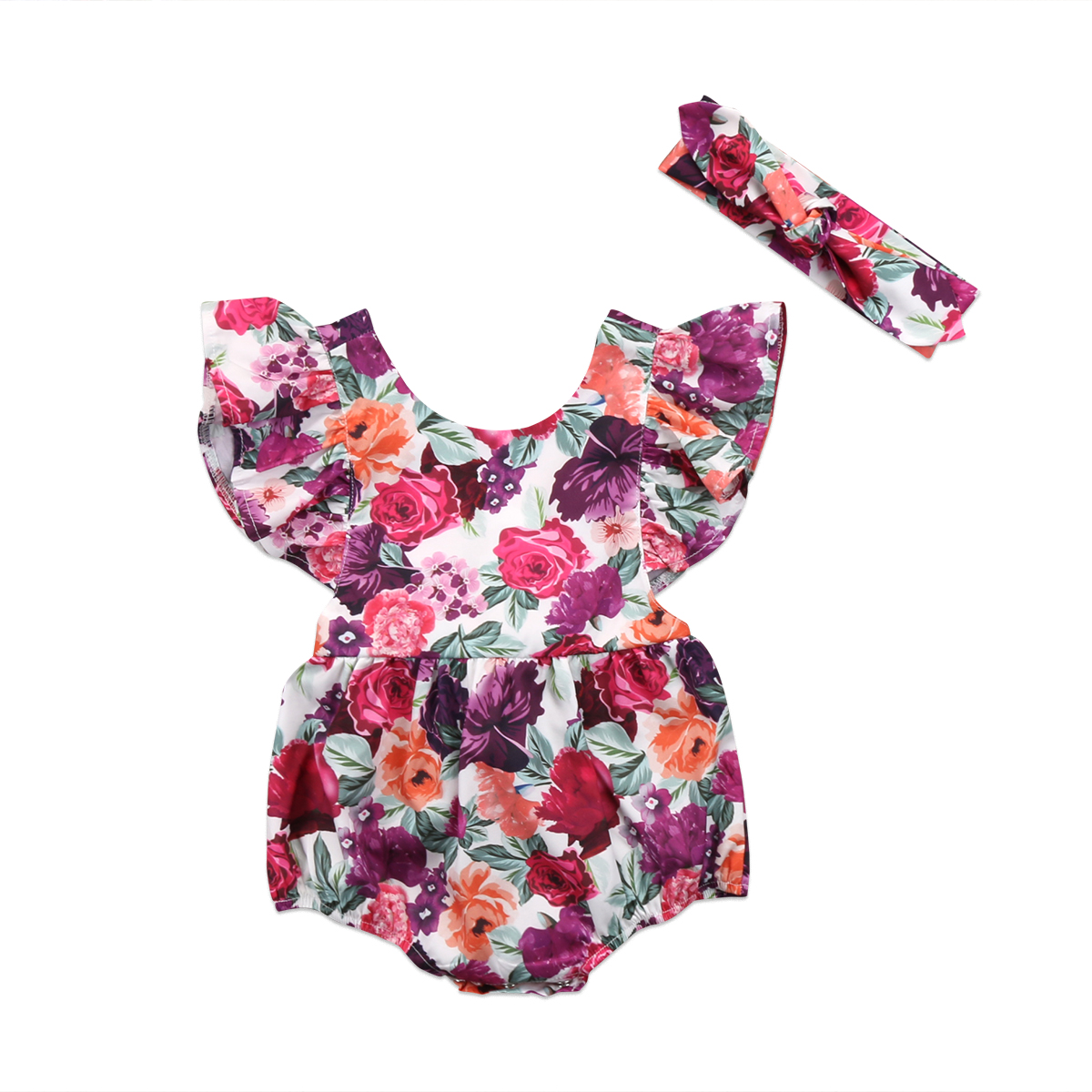 One-Pieces Toddler Baby Girls Backless Rompers Jumpsuit Floral Ruffles Romper Outfit Headband Clothes Summer