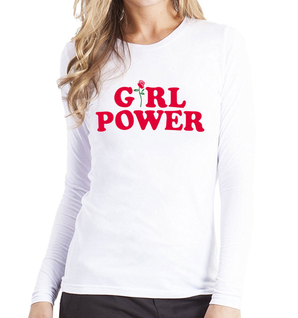 c0bce2414e09e 2017 noir rose harajuku casual tops femmes printemps Fille Puissance  lettres imprimer T chemises Féminisme à