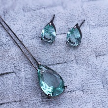 Fashion Jewelry Set Water Drop Shape Clear  Crystal Earring/Necklace PWX1732001