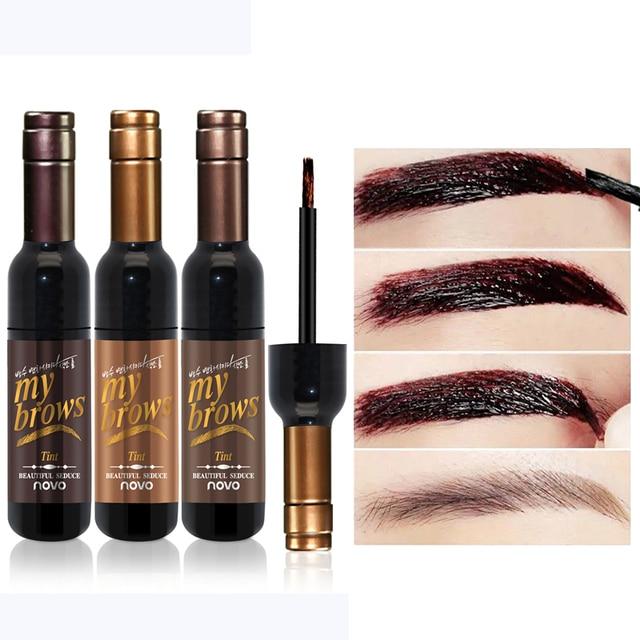 3 colores maquillaje de ojos de marca rojo Ojo de vino tatuaje de cejas tinte resistente al agua de larga duración crema de Gel de cejas hacer cosméticos