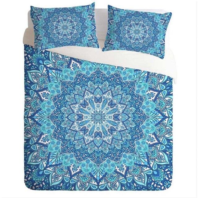 Bedding Sets Blue India Mandala Floral Duvet Cover Set With Pillowcase  Bohemian Bed Sheets Flower Boho