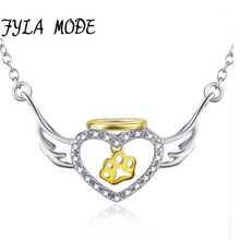 FYLA MODE Genuine 925 Sterling Silver Heart Necklace Fashion Jewelry Angel Wings with A Palm Pendant Necklace Holiday Sale