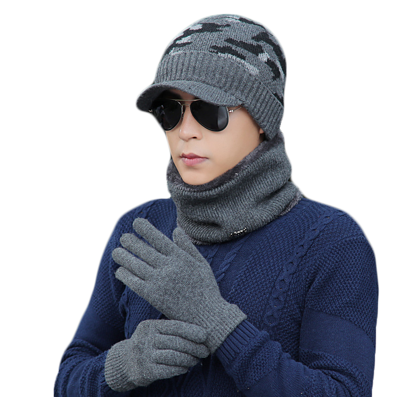 Scarf-Set Gloves Knitted Winter Women Fashion for Outdoor Warm Casual Unisex Cap Gift
