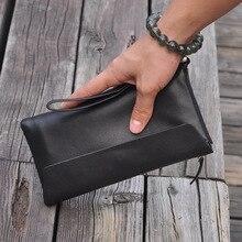 New mens leather black long-style wallet zipper hand bag high-grade 3016