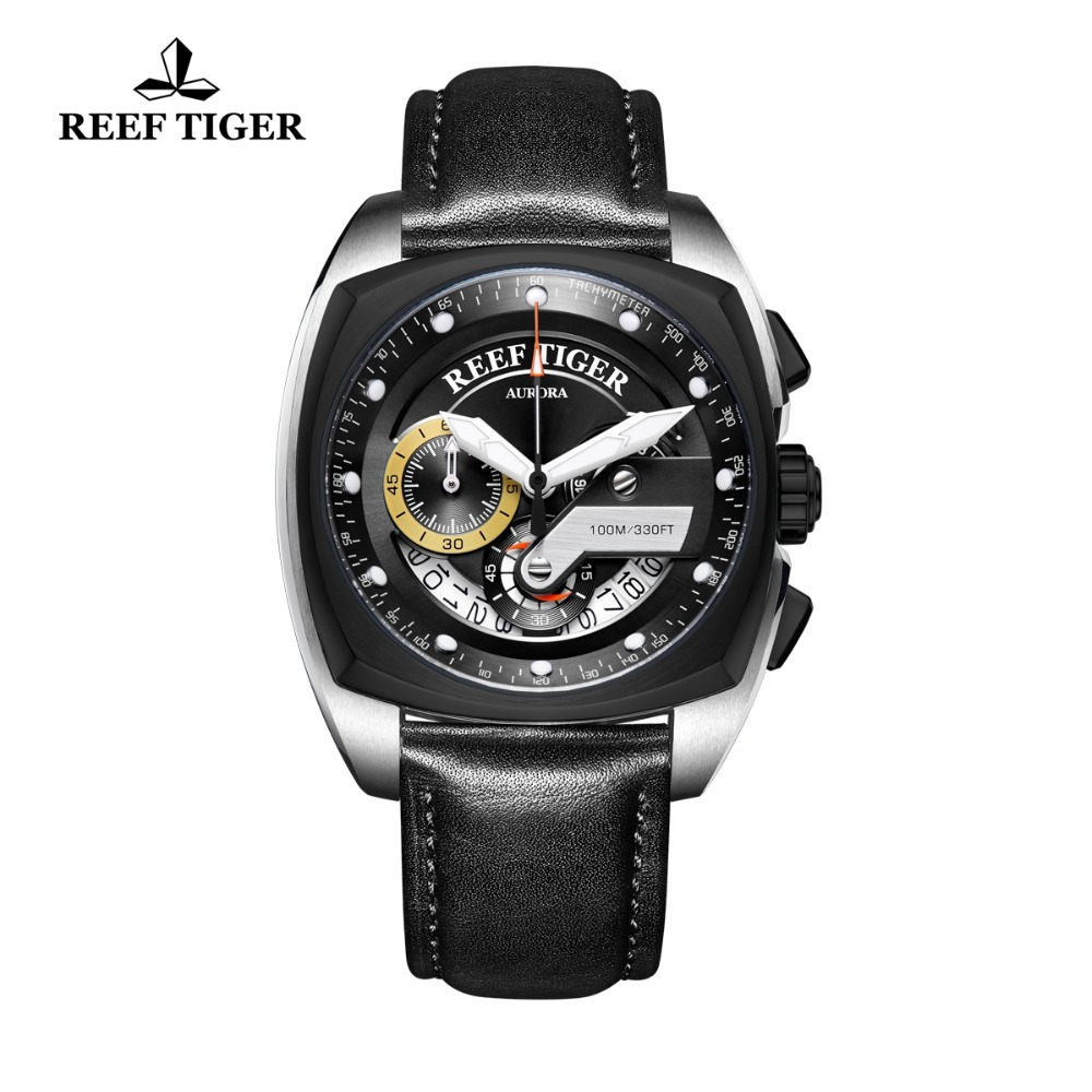 2018 Reef Tiger/RT Top Brand Luxury Military Sport Watch Fashion Quartz Watches Waterproof Men Watch Famous Male Clock RGA3363 2018 reef tiger rt top brand sport watch for men luxury blue watches leather strap waterproof watch relogio masculino rga3363