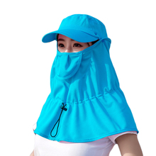 New Adjustable Cycling Anti UV Sun Hat With Face Mask For Women Summer Hats Covered Neck Casual Stylish Plain Color