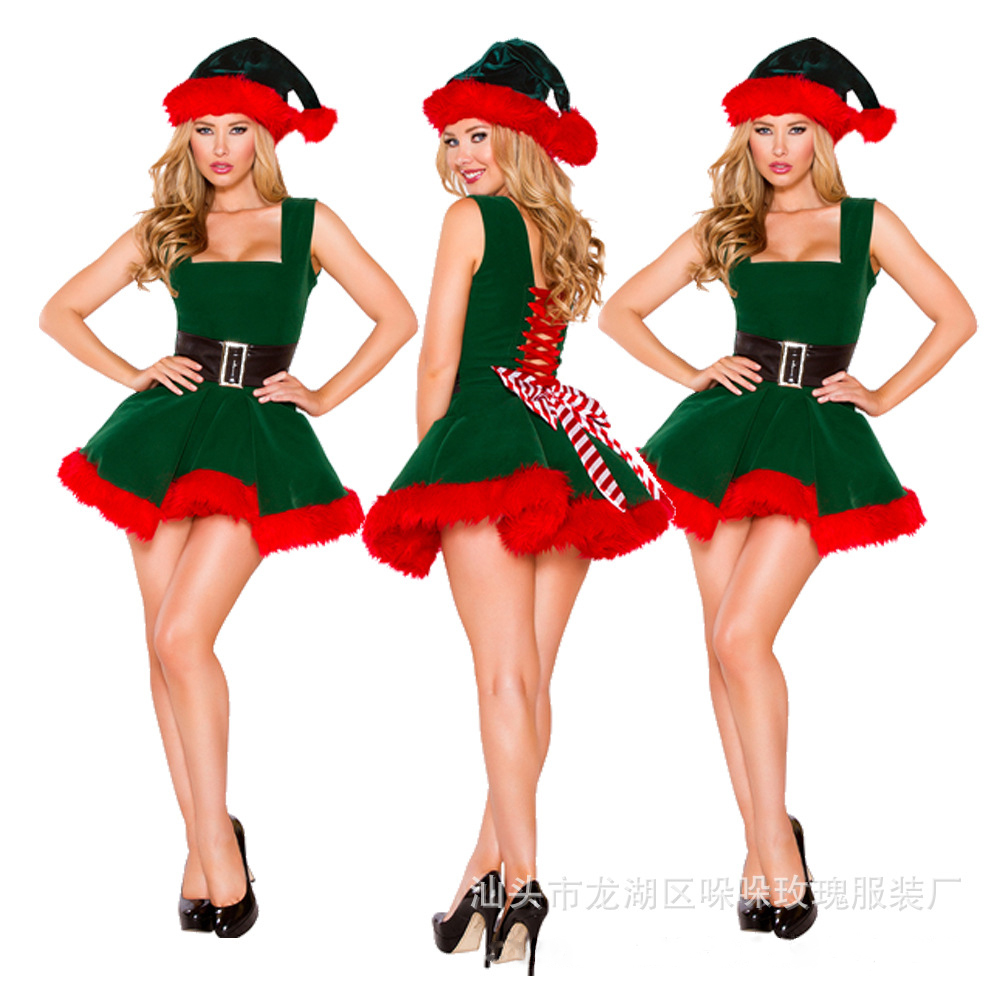 Hot <font><b>Christmas</b></font> <font><b>Costumes</b></font> For Women Deguisement <font><b>Sexy</b></font> Disfraz Mujer Mini Bubble Skirt Green Trees Fantasias <font><b>Outfits</b></font> Sleeveless T1438 image