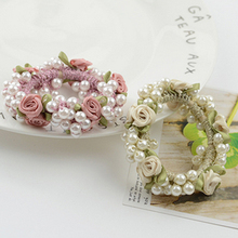 2018 New Woamn Rose Flower Hair Pearls Hairband Ponytail Holder Rope Ring Girl Pearl Head Accessories Hot