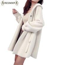 Вязаный женский кардиган, свитер, пальто, стиль, Осеннее длинное пальто с капюшоном, имитация меха норки, свободный свитер, пальто для женщин HP251