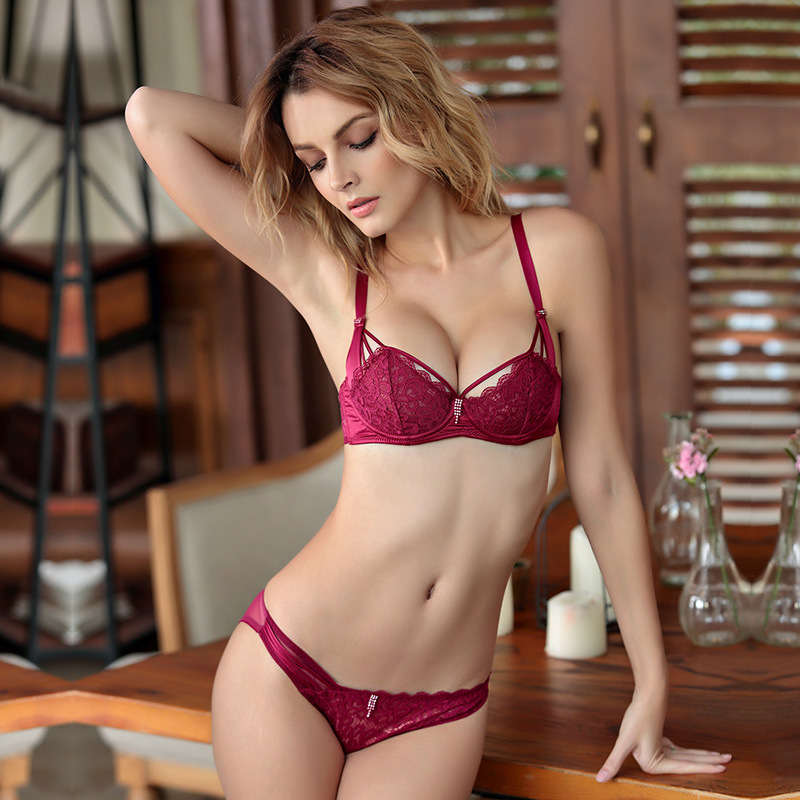 9e970bffd4 TERMEZY Push Up Bra Set Sexy Lace Drill Lingerie 1 2 Cup Underwear Women  Flower