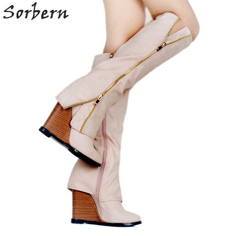 Sorbern Khaki Knee High Boots For Women Wedge High Heels Zipper Botas Femininas De Inverno Women Wedge Heel Shoes Diy Colors женские блузки и рубашки hi holiday roupas femininas blusa blusas femininas