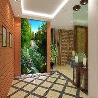 2014 New Sale Wallpapers Adesivo Wallpaper For Walls 3d Stereo Box Walking Promenade Mural Living Room