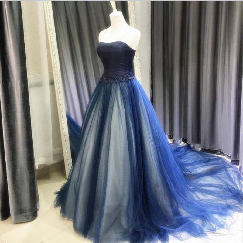 Popular Blue Gothic Prom Dresses-Buy Cheap Blue Gothic Prom ...