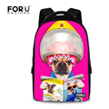 FORUDESIGNS Candy Color Women Laptop Backpack Cute Animal Pet Dog Printing College Backpack Female Teen Girls School Rucksack