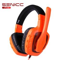 SENICC A1 lekki silny bas słuchawki gamingowe SoundSmart redukcja szumów Mic Gamer zestaw słuchawkowy z mikrofonem 3.5mm wtyczka do telefonu