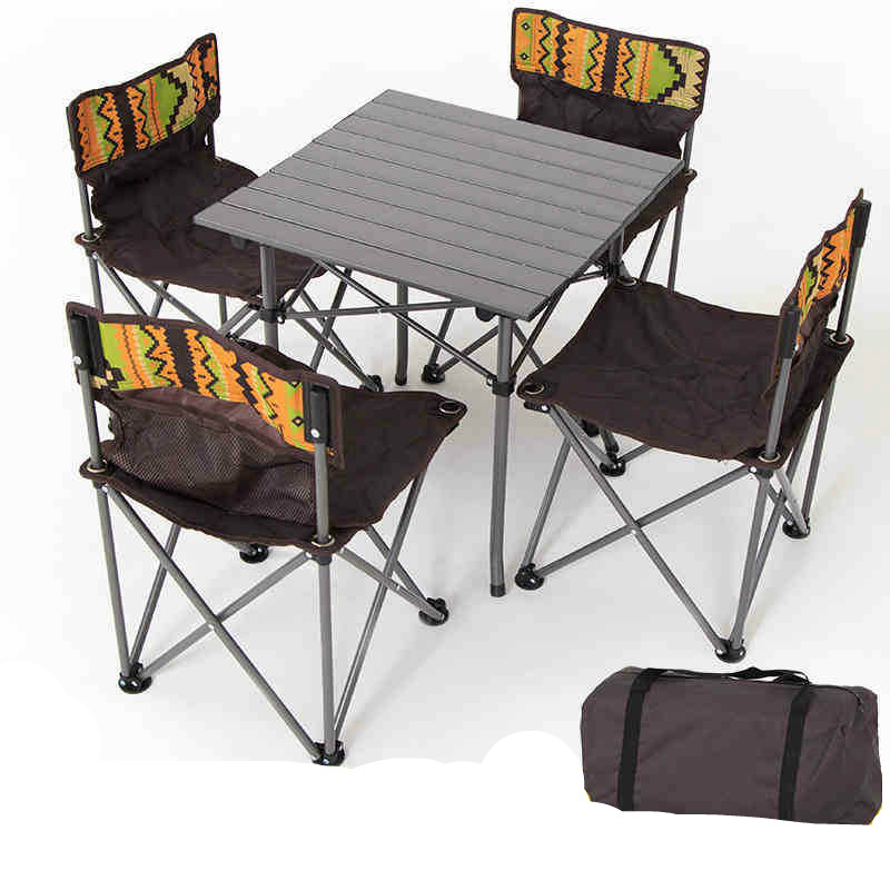 Outdoor Camping Table And Chairs Set Portable Folding Tables And Four Chairs Sets Wild Outing Picnic Table And Chairs Garden Furniture Sets Aliexpress