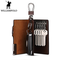 WILLIAMPOLO Genuine Leather Key Holder Men Car Key Case Home Keys Organizer With Coin Pocket Luxury Design Cowhide Gift For Male