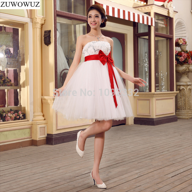 2017 New Stock Bridal Gown Plus Size Women Pregnant Wedding Dress Short Big Red Bow Sexy Backless Backless White Cheap 7601xxn