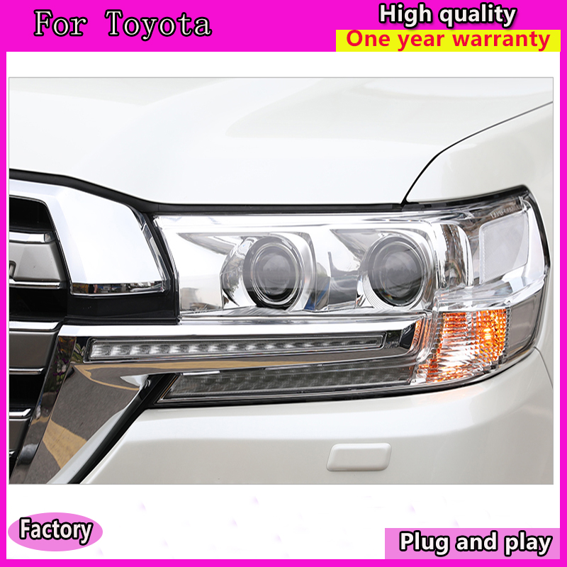 Car Styling For Toyota Land Cruiser 2016 2017 Cruiser headlights head lamp led DRL front Led double lens Double Beam