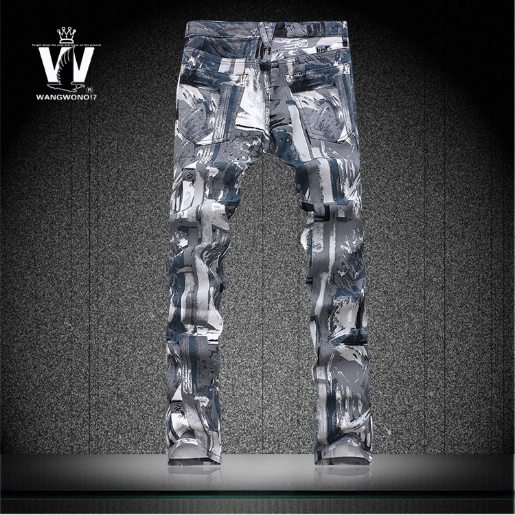 Trousers 100 cotton 2016 slim Camouflage print jeans pants mens top brand outerwear imported clothing man