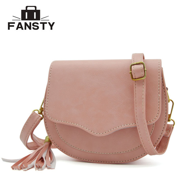 4d782abd0fe5 New Arrival Women Preppy Style Circular Shoulder Bags Korean Tassel Woman  Messenger Bag Girl s Small Saddle Cross Body Bag-in Top-Handle Bags from  Luggage ...