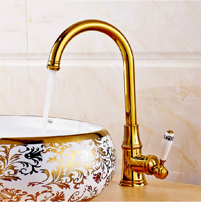 Single Ceramic Handle Swivel Spout Golden Kitchen Faucet Brass Crane Mixer Taps Deck Mounted