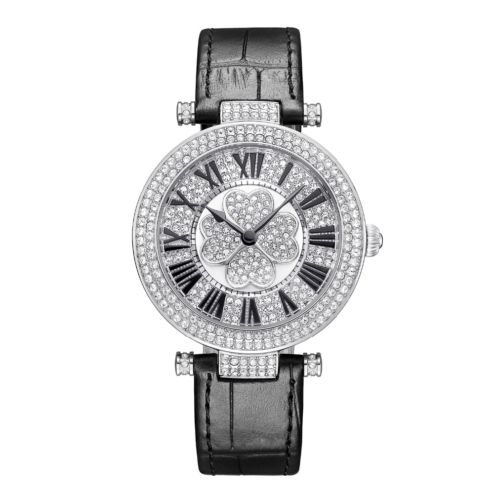 New Arrivals Austrian Crystal BP Brand Quartz Watch Luxury Lucky Clover Watch Lady Full Diamond Sapphire Leather Band Watch new arrival grace bs brand full diamond luxury silver bracelet watch women austrian crystals oval watch lady rhinestone bangle