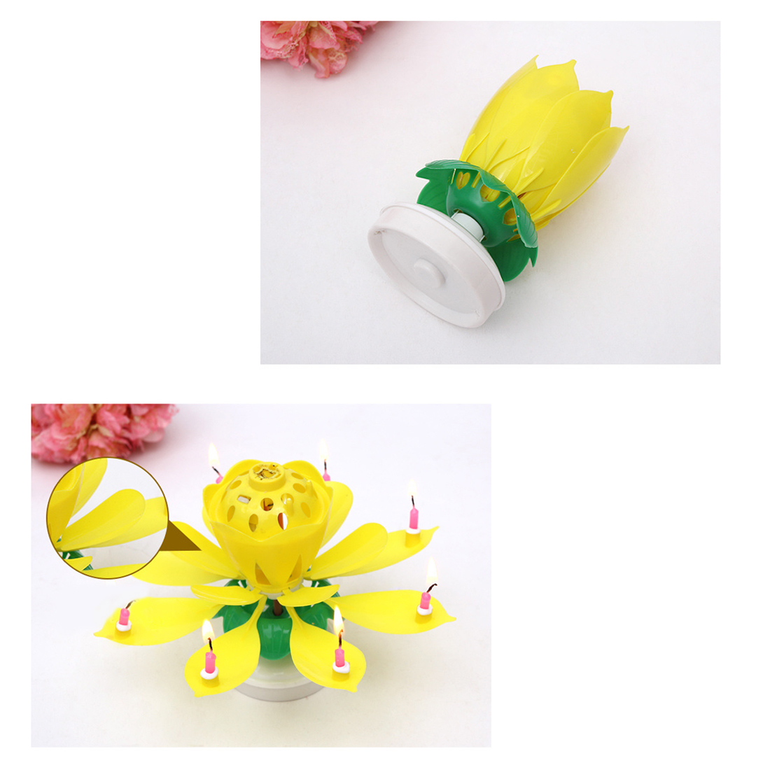 Creative Birthday Candles Beautiful Musical Lotus Flower Happy Birthday Party Gift Rotating Lights Decoration 8 Candles Lamp