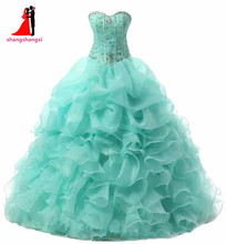 Quinceanera Dresses 2018 Beaded Organza Ball Gown Long Prom Party Dress Wedding Cheap Vestidos De 15 Anos Sweet 16 Dresses 53
