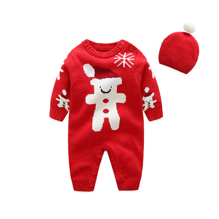 Christmas infant long sleeve rompers fashion baby boys girls cartoon woollen jumpers new years kids stuff goods 17N1120