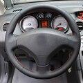 O Envio gratuito de Alta Qualidade Top Layer Couro do couro artesanal volante Costura cobre proteger Para Peugeot 408/Peugeot 308