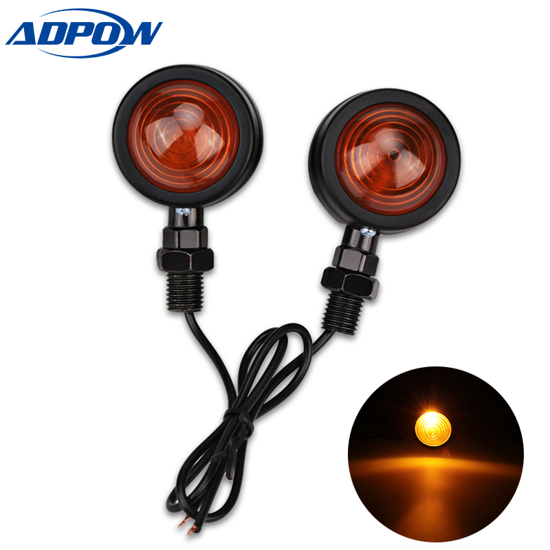 2pcs  Motorcycle Turn Signal Indicator Amber Bullet Blinker Lights For Yamaha Suzuki Kawasaki Harley Bobber Chopper Cafe Racer