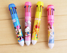 12PCS Cartoon 10 colors ball pen Hello Kitty princess baby shower party favors kids birthday party supply decoration gift