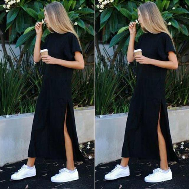 Maxi T Shirt Dress Women Summer Beach Sexy Kim Kardashian Ukraine Kyliejenner Linen Bohemia Long Black Bodycon Dresses Plus Size 2
