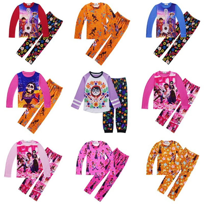 Movie Coco Miguel baby Cosplay Costume for Boy Girls Pajamas Sleepwear Top Pants 2 Sets Children Nightwear Homewear Pajamas