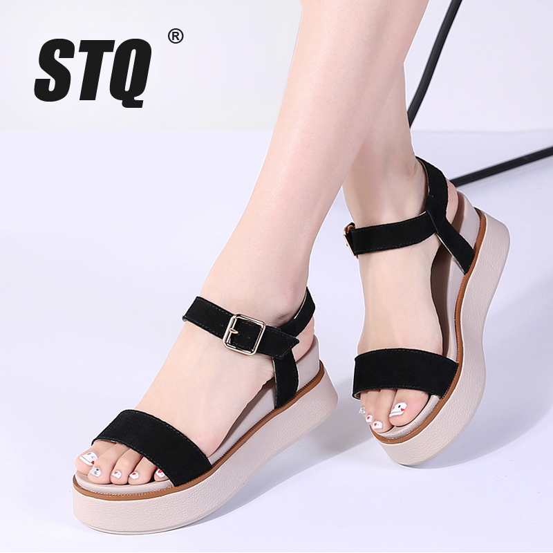 STQ Platform Sandals Heel Flat Thick Wedges 8020 Original