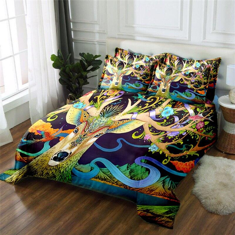 Новый продукт Лось 3D печатных 4 шт. Постельное белье из микрофибры постельное белье Набор пододеяльников для пуховых одеял комплект кровать... - 6