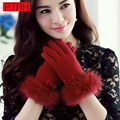 PTAH Women Accessories Winter Wool Gloves Wrist Bow Rabbit Fur Mittens Inside Velvet Warm Outdoor Colorful Striped GuantesPT9837